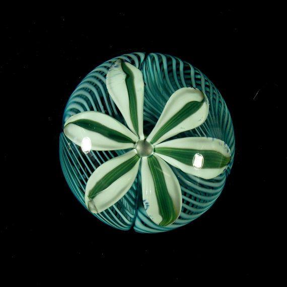 Mentuck Art Glass Paperweight Latticino Floral By Marbleheadglass