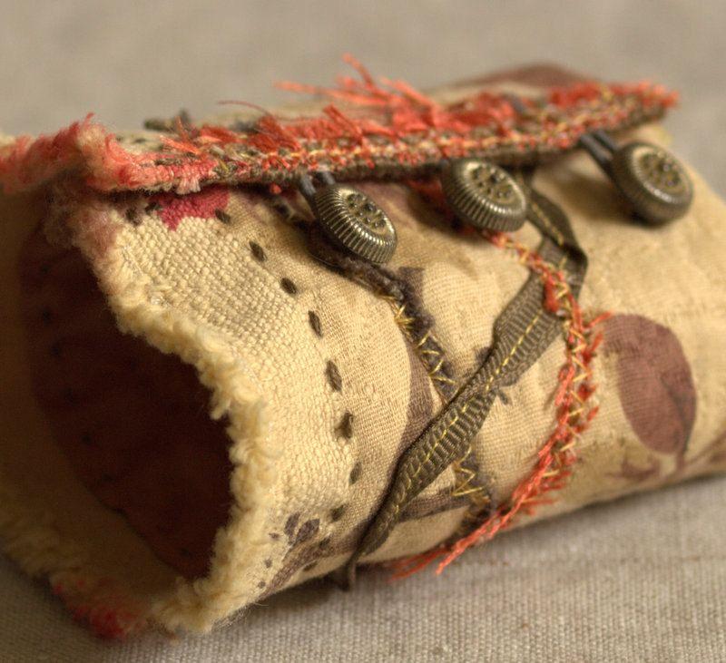 Autumn.  Fall fashion, fabric cuff bracelet, vintage inspired accessory.. $42.00, via Etsy.