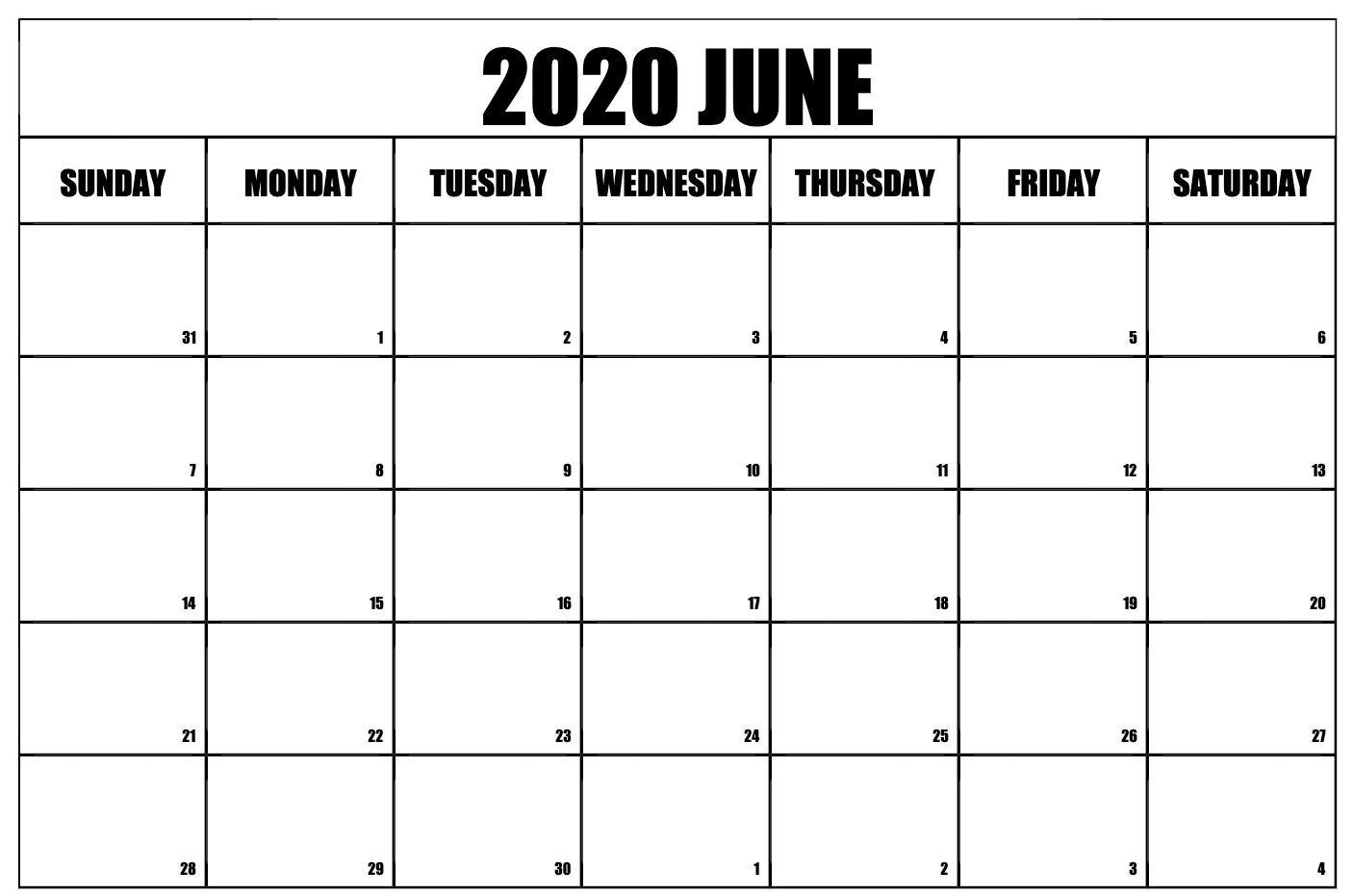 Free Printable June 2020 Calendar Calendar Printables 2020