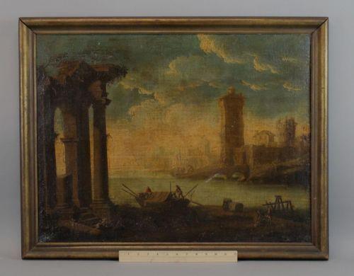 Antique 18thC O/C Oil Painting Architectural Columns River City No Reserve NR https://t.co/rRQCVqlgFv https://t.co/NCQj2NSrQC