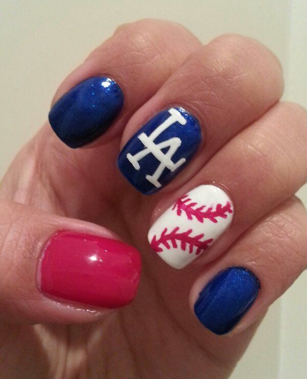 baseball nail art...obviously with DBacks instead of the LA Dogers ...