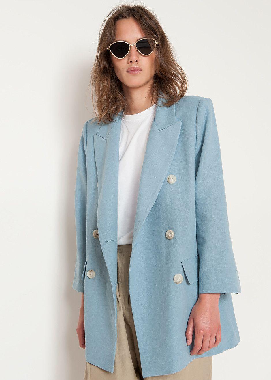 Fatale Tappeto triplicare  Light Blue Linen Blazer – The Frankie Shop | Blazer outfits for women,  Textiles fashion, Fashion