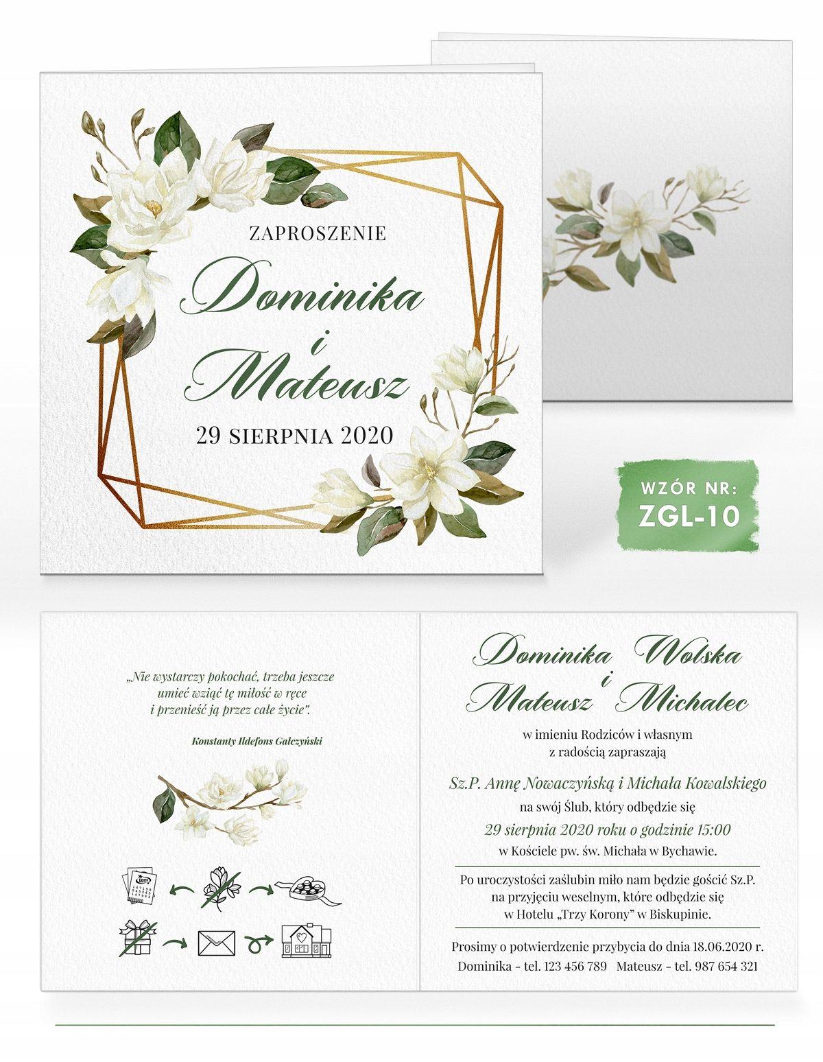 Zaproszenia Slubne Akwarele Magnolia I Bawelna 8514023257 Allegro Pl Place Card Holders Place Cards Cards