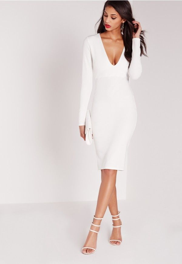 Ponte Long Sleeve Plunge Midi Dress White - Missguided | Promm ...
