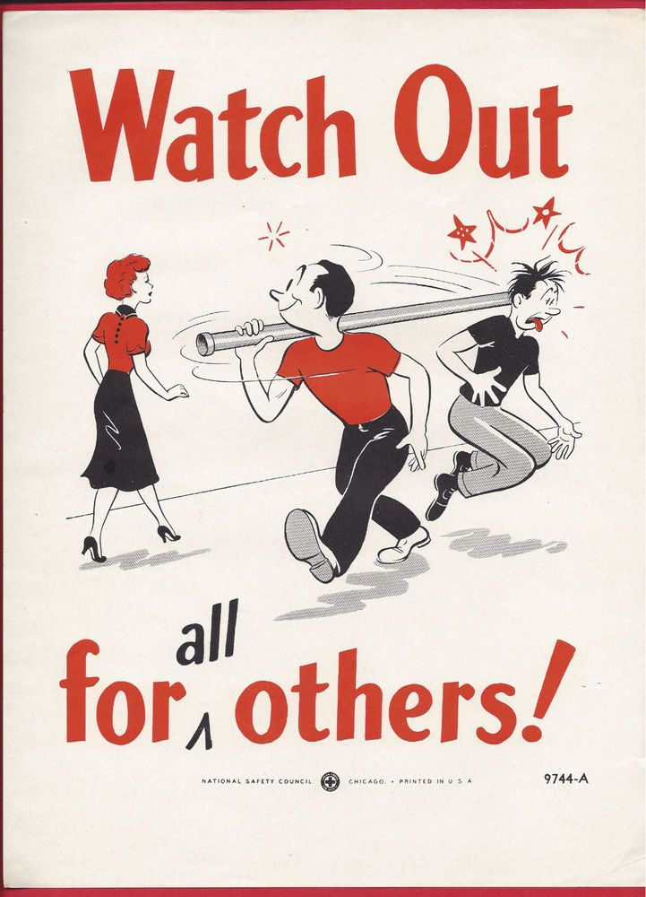 Vintage Rare Workplace Safety Poster 1950s National Safety
