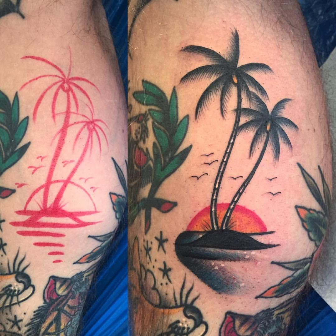 Last tattoo of the year 2017. I'm glad it was palm trees