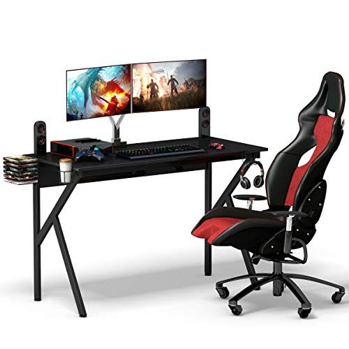 lunanice Office Home Computer Desk Writing Table Shop Gaming Desk Racing Style Computer Table with Cup Holder & Headphone Hook Size 52 #gamingdesk