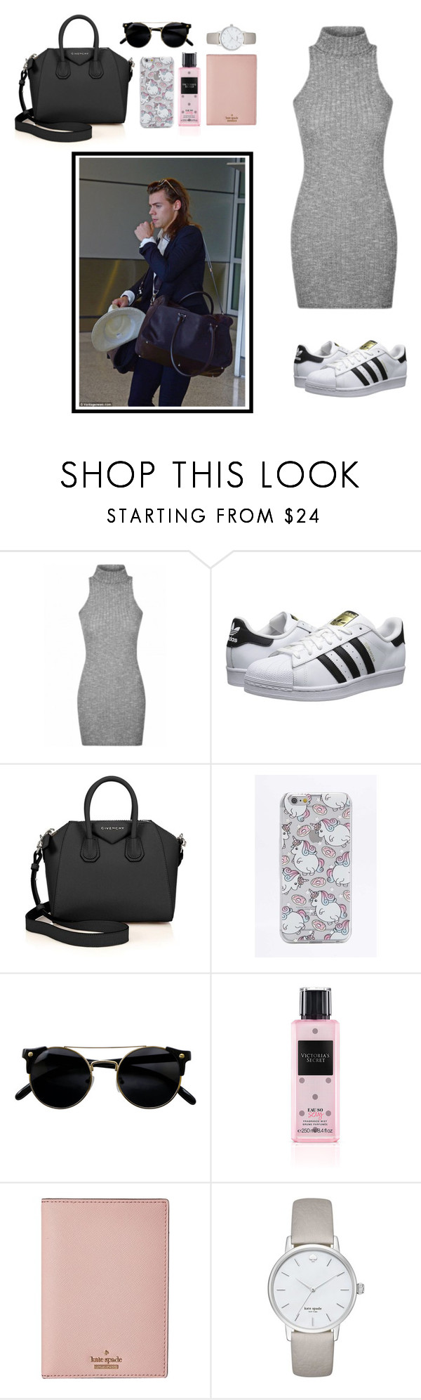 """Airport with Harry."" by peehujain ❤ liked on Polyvore featuring adidas Originals, Givenchy, Skinnydip, Victoria's Secret and Kate Spade"