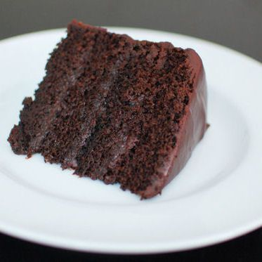 The perfect slice of the simple, yet decadent, chocolate fudge cake for my birthday