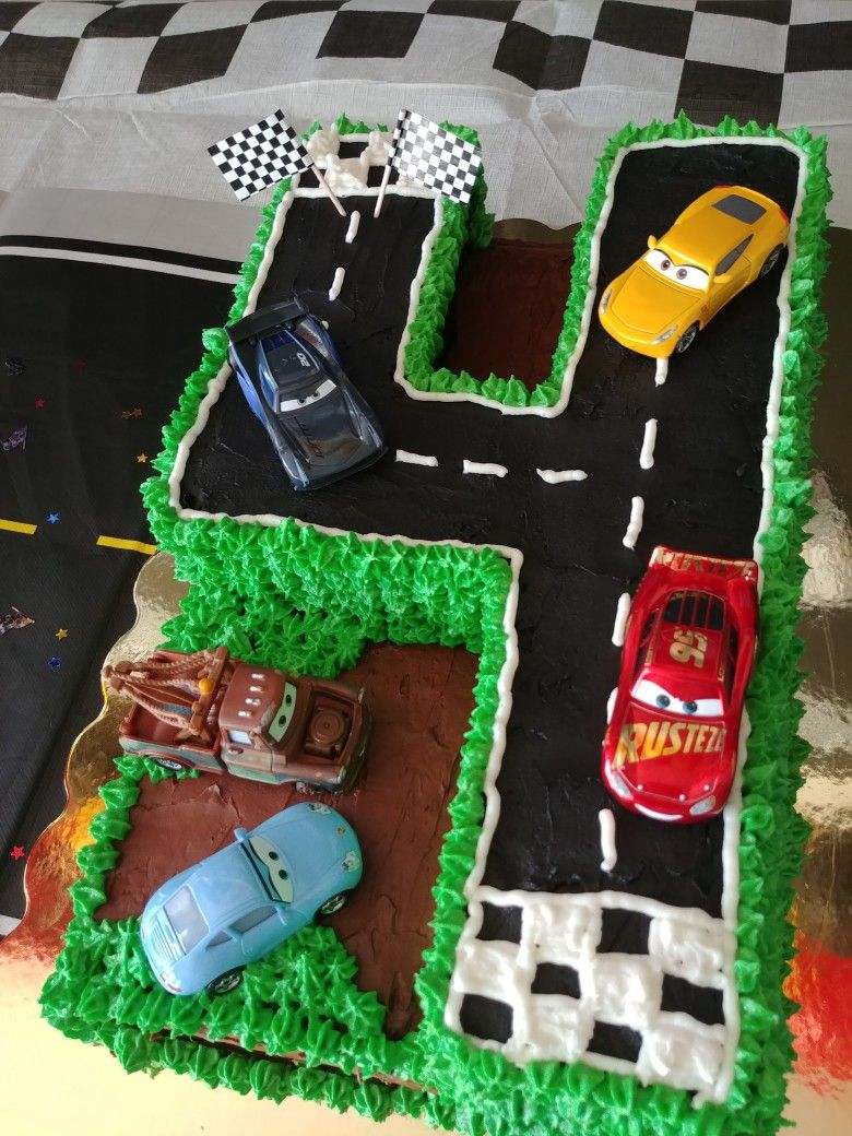 Outstanding Cars Birthday Cake Cars Cake Four Cake With Images Cars Funny Birthday Cards Online Sheoxdamsfinfo