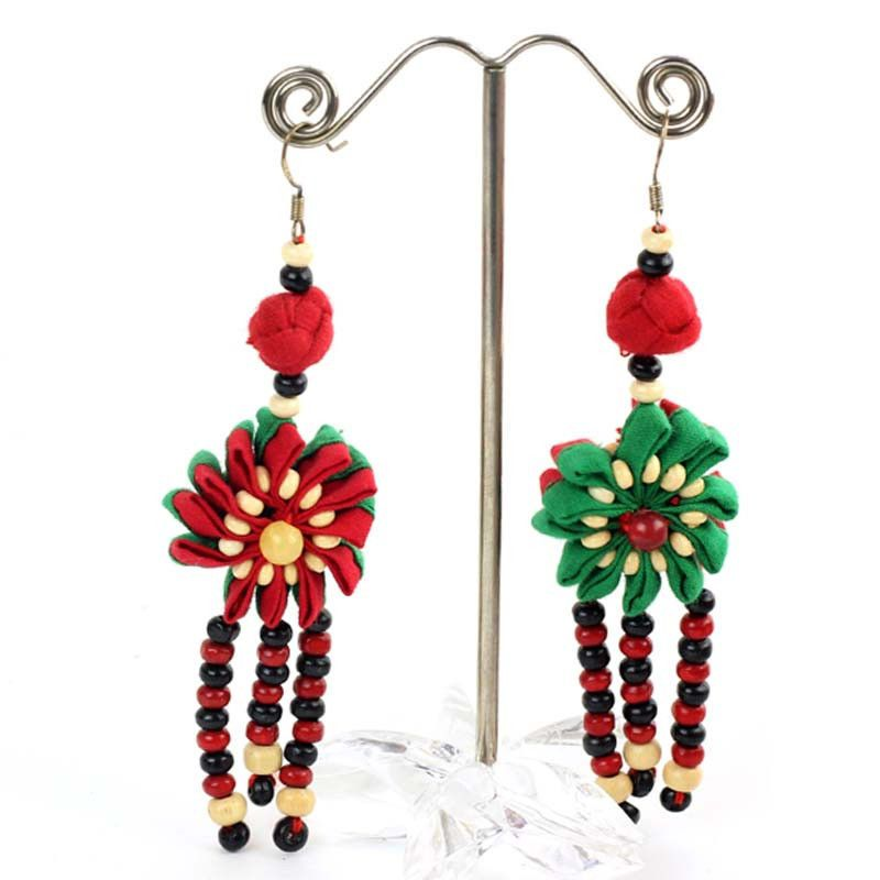Flowers Earrings Chandelier Cross Dangle Hoop Christmas Earrings Handmade Knit #XH #ChandelierLongEarringsVintageEarrings