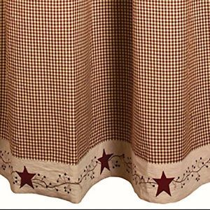 New Primitive Country Bath Burgundy Tan Gingham Star Berry Vine Shower Curtain Primitive Shower Curtains Primitive Bathrooms Primitive Decorating Country
