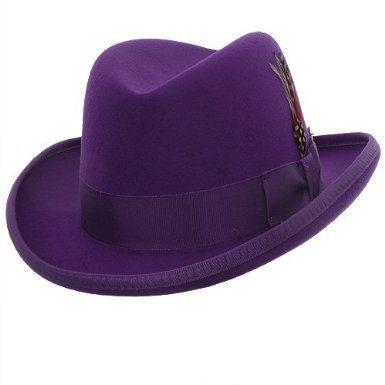 Mens Purple Godfather Hat 100% Wool Homburg Dress Hat 4201  7f15608a2920