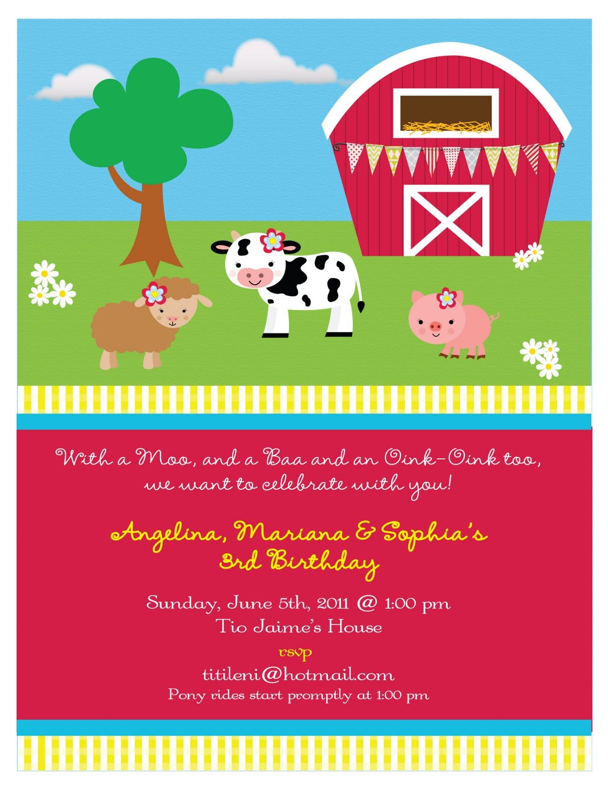 Partylicious: {On the Farm Birthday}- Invitation, barn with banner ...