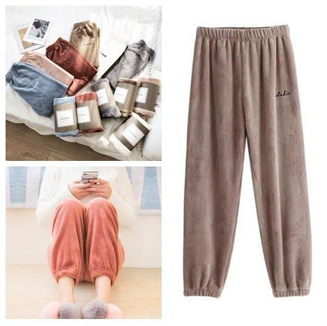 ac54d9fb31ad Winter Coral Fleece Pants Elastic Waist Lantern Pants Beam Foot Sleep  Bottoms Home Casual Wear Pants