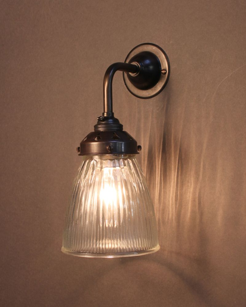 Industrial Wall Light With Striped, Prismatic Glass Shade