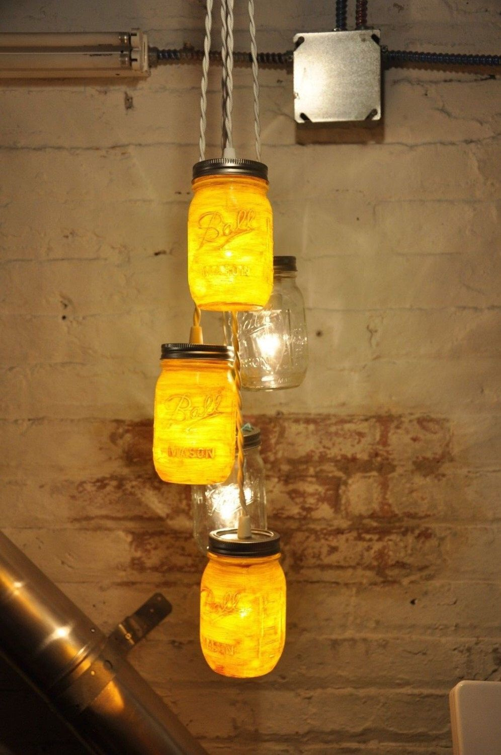 A personal favorite from my etsy shop httpsetsylisting 5 mason jar chandelier pendant light fixture by wiresnjars on etsy arubaitofo Gallery