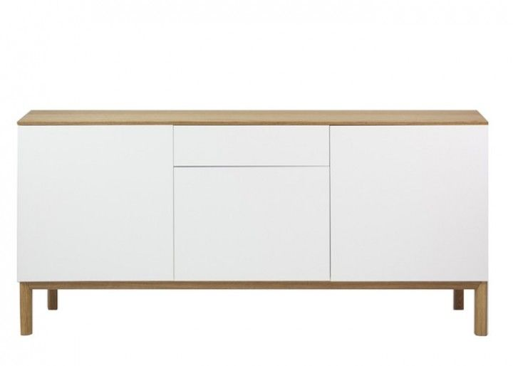 slim schrank sideboard kommode wei top eiche. Black Bedroom Furniture Sets. Home Design Ideas