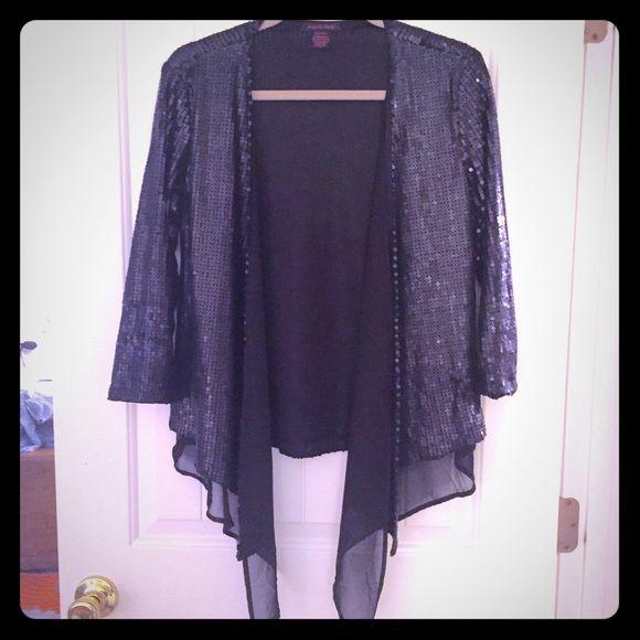 💥 Black Sequin Cardigan from Boutique | Sequin cardigan, Black ...