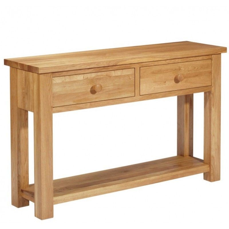 Tavistock Solid Oak 2 Drawer Hall / Console Table - Furniture4yourhome