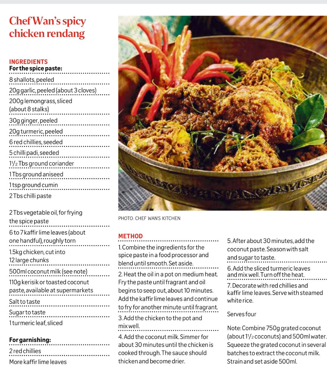 Chef Wan S Spicy Rendang Chicken Chef Wan Cooking Recipes