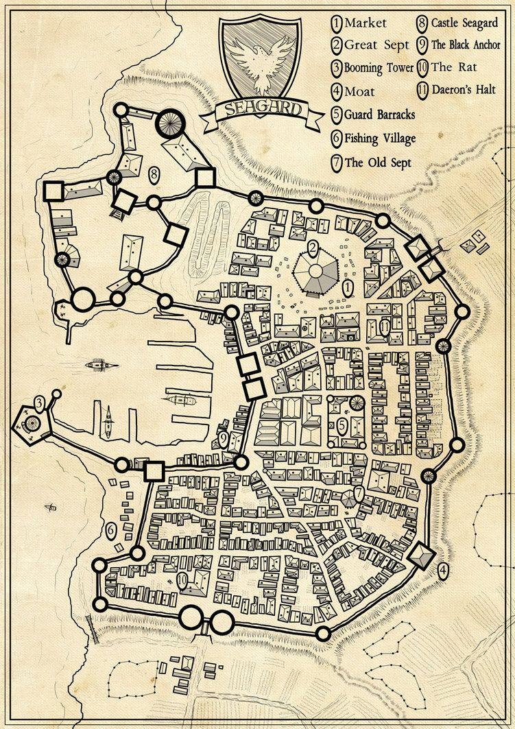 Fantasy Map City : fantasy, Seagard, Commission, Fantasy, Making