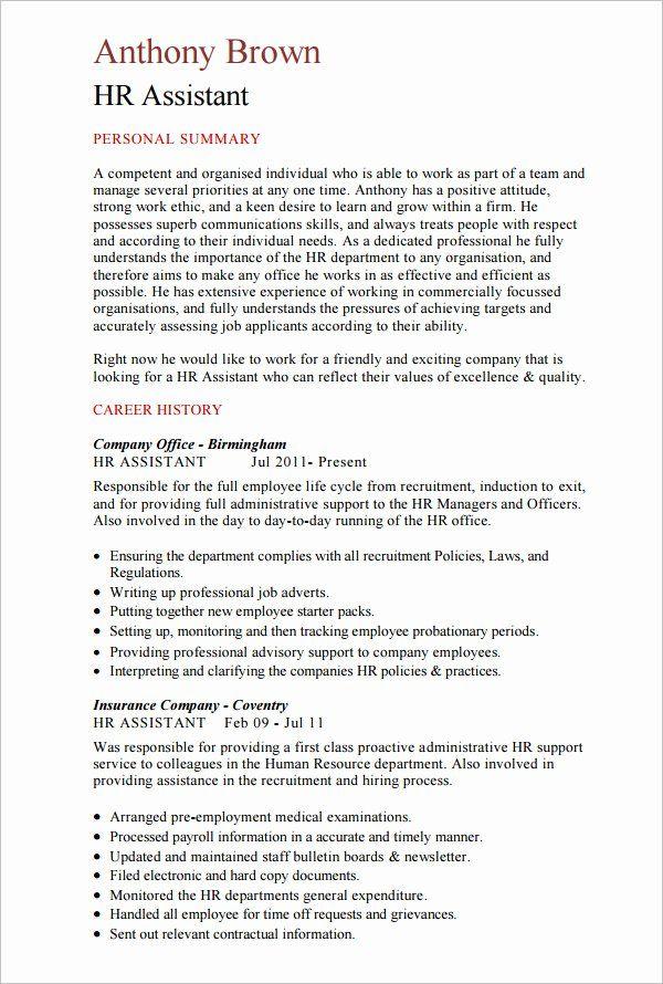 Hr Assistant Job Description Resume Beautiful 21 Hr Resume Templates Doc Human Resources Resume Hr Resume Human Resources