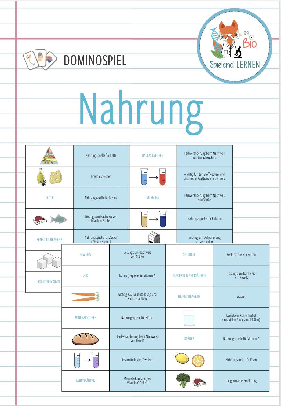 Nahrung und Ernährung   Domino Spiel – Unterrichtsmaterial im Fach ...