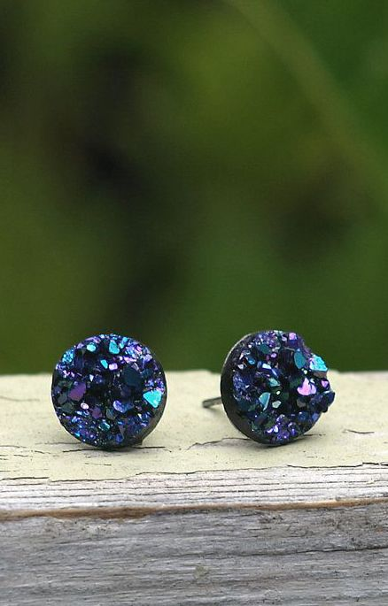 Faux Druzy Stud Earrings. Blue Purple and Black