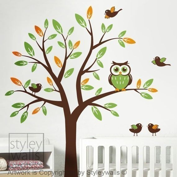 Owl Tree Decal Vinyl Wall Decal Nursery Vinyl Wall Decal   Tree With Owl  And Birds Wall Decal Kids Nursery Baby Room Decal Sticker Art Decor Via  Etsy Buy ...