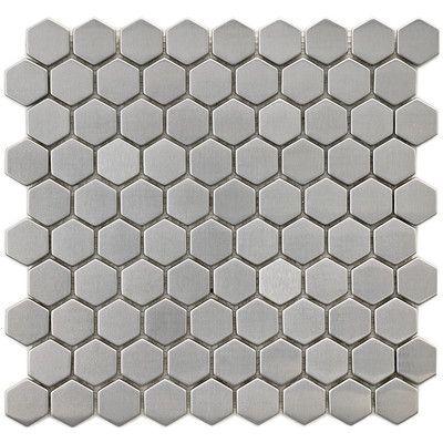 "EliteTile Metallic 1"" x 1"" Stainless Steel Over Ceramic Mosaic Tile in Silver $16.46/sf"