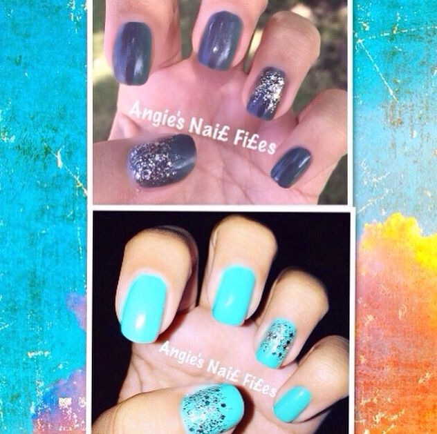Tiffany blue nails I did:) Change color in the sunlight to dark grey:)