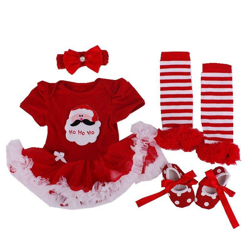 1d29120fb3c4 Newborn Baby Girl Christmas Tutu Dress Romper Leg Warmers Shoes ...