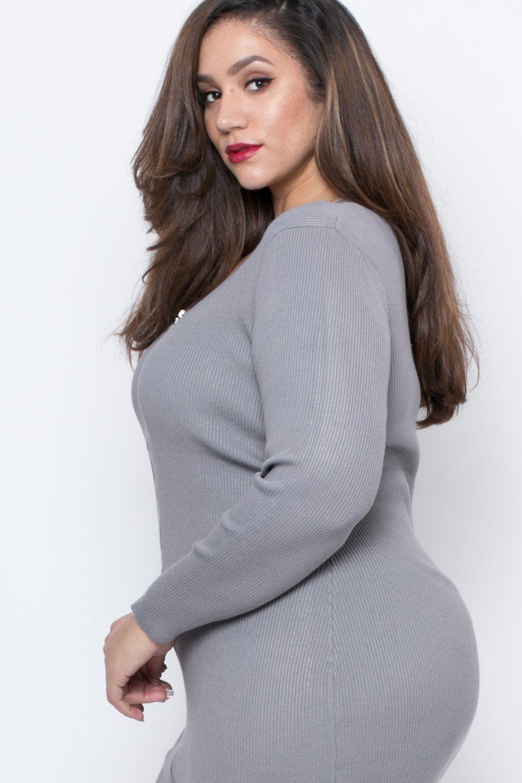 Plus Size Missy Sweater Dress - Grey  9771bd4a1