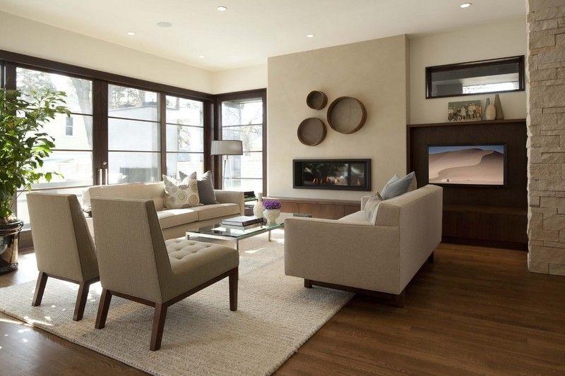 wohnzimmer in sandfarbe streichen - neutrale farbgestaltung, Wohnzimmer