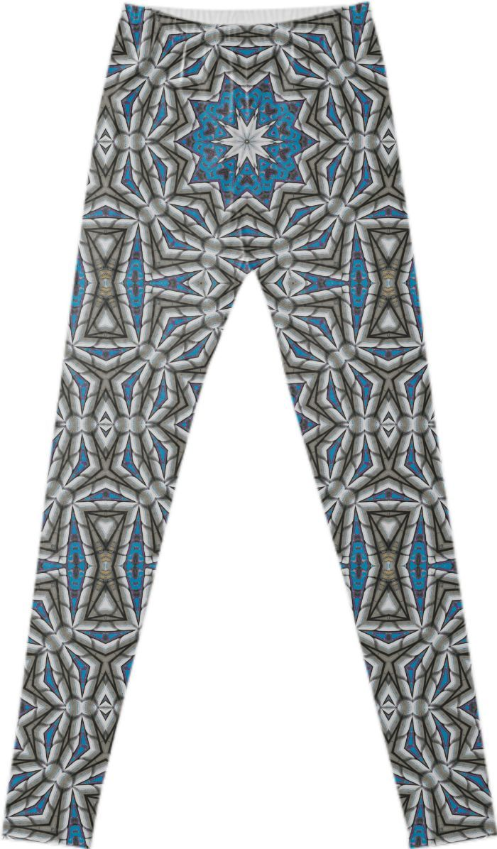 """""""MOROCCAN VIBE"""" LEGGINGS  BY DOVETAIL DESIGNS,  from Print All Over Me.   Pattern reminiscent of tiles from Morocco, which are actually from a photo of a pool house rooftop in Washington, D.C. 1y"""