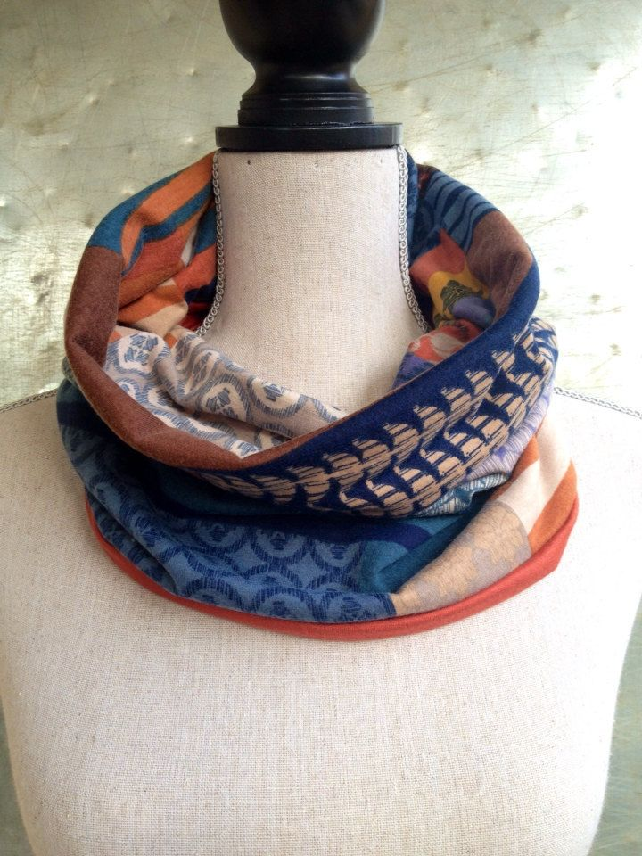 Nordic Motif Fabric Cowl Circle Scarf Short Infinity Scarf by IndustrialWhimsy on Etsy