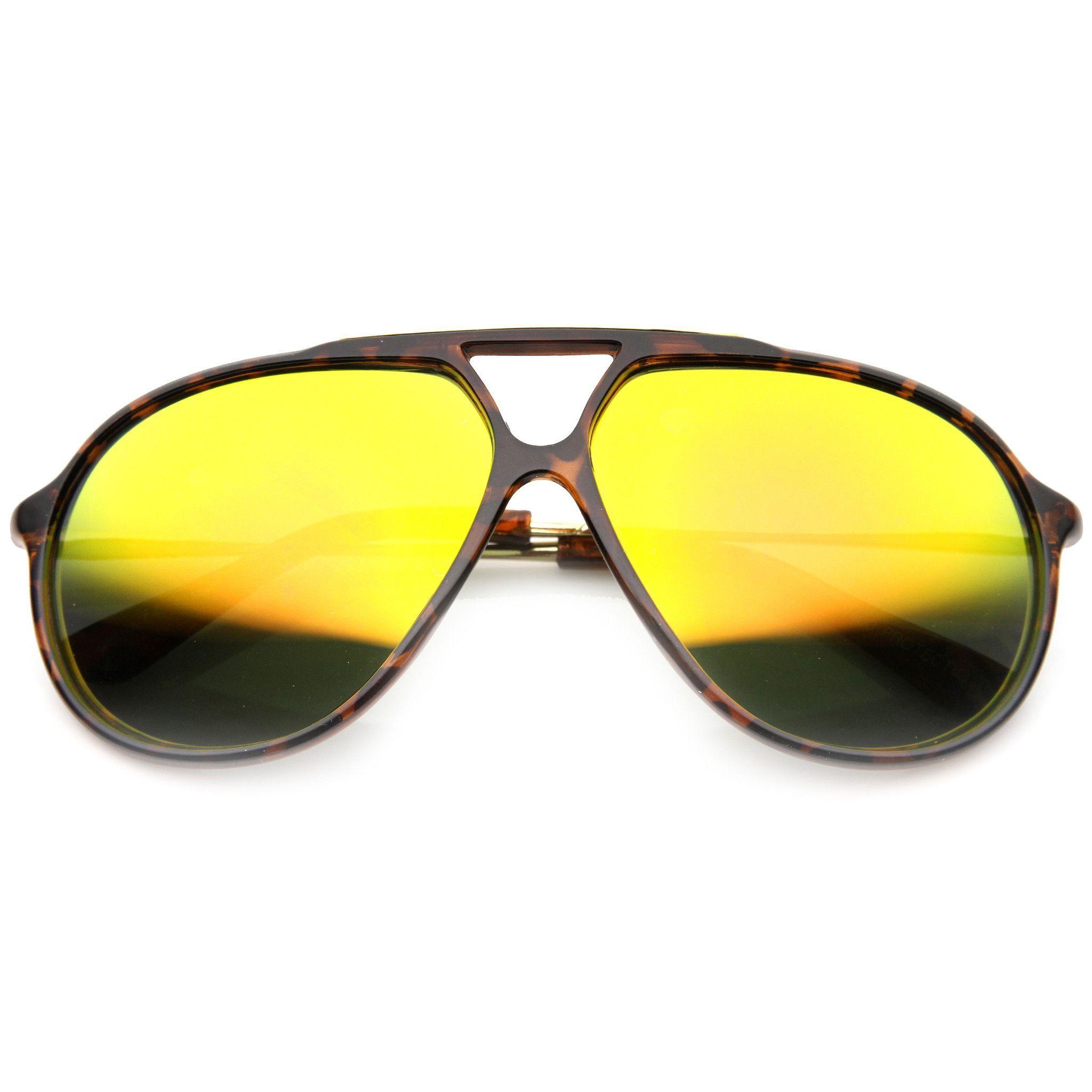 cdaa200c0ca9d0 Large Retro Aviator Sunglasses With Flash Mirror Lenses 9740 ...