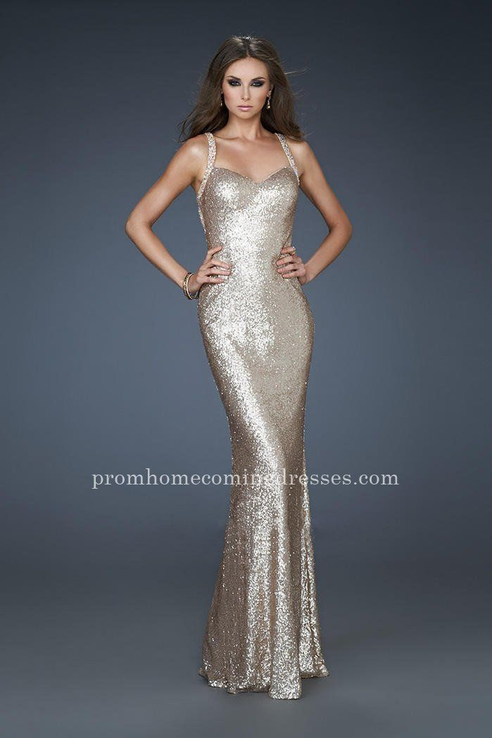 Strappy Back Nude Sequin La Femme 18179 Long Prom Dresses Ball