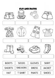 english worksheet clothes cut and paste dla dzieci pinterest worksheets and english. Black Bedroom Furniture Sets. Home Design Ideas