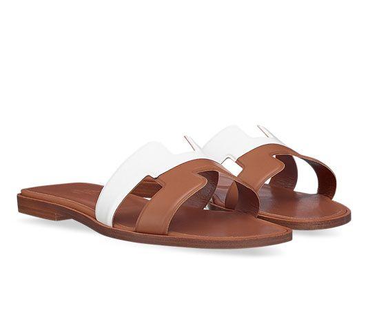Oran Hermes ladies' sandal in calfskin, leather sole and
