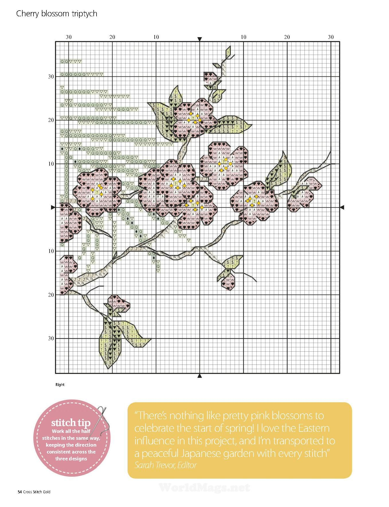 Cherry blossom triptych. Cross stitch.
