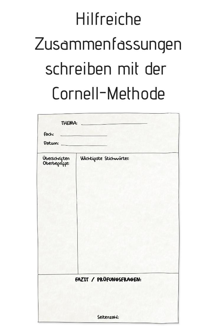 Gute Zusammenfassungen Schreiben Die Cornell Methode Lernmethoden Zusammenfassung Studium Inspiration