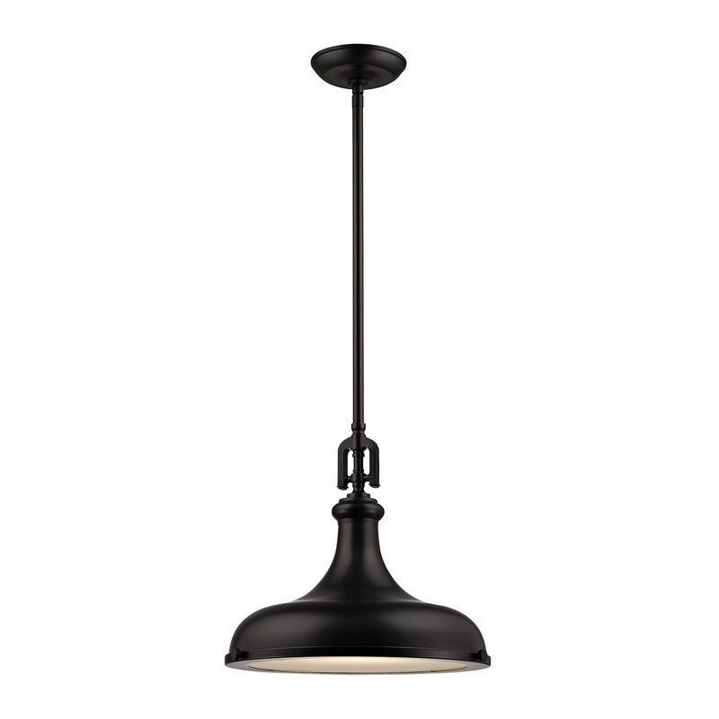 "Elk Lighting 57061/1 Rutherford Single Light 15"" Wide Pendant with Round Canopy Oil Rubbed Bronze Indoor Lighting Pendants"