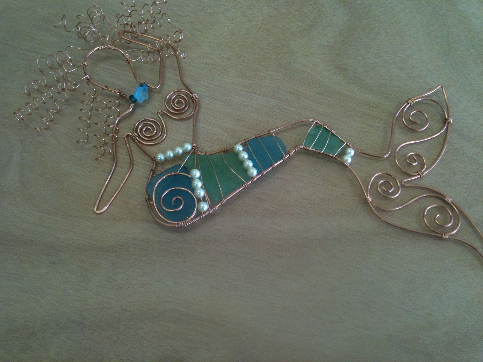 Wire Wrapped Mermaid with Sea Glass and Pearls! BY Mermaids Design ...