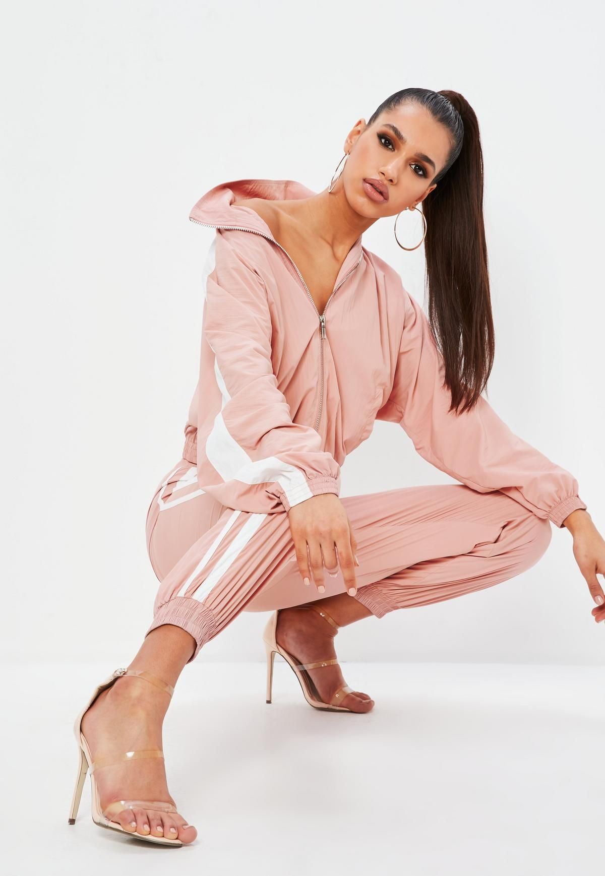 0e6b950f3c Missguided Petite Pink Shell Suit Double Side Stripe Pants ...