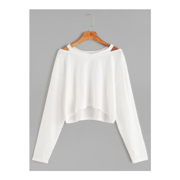 SheIn(sheinside) White Cut Out Neck Crop T-shirt ($9.99) ❤ liked on Polyvore featuring tops, t-shirts, white, long-sleeve crop tops, v neck tee, v neck t shirts, long sleeve v neck t shirts and white v neck tee