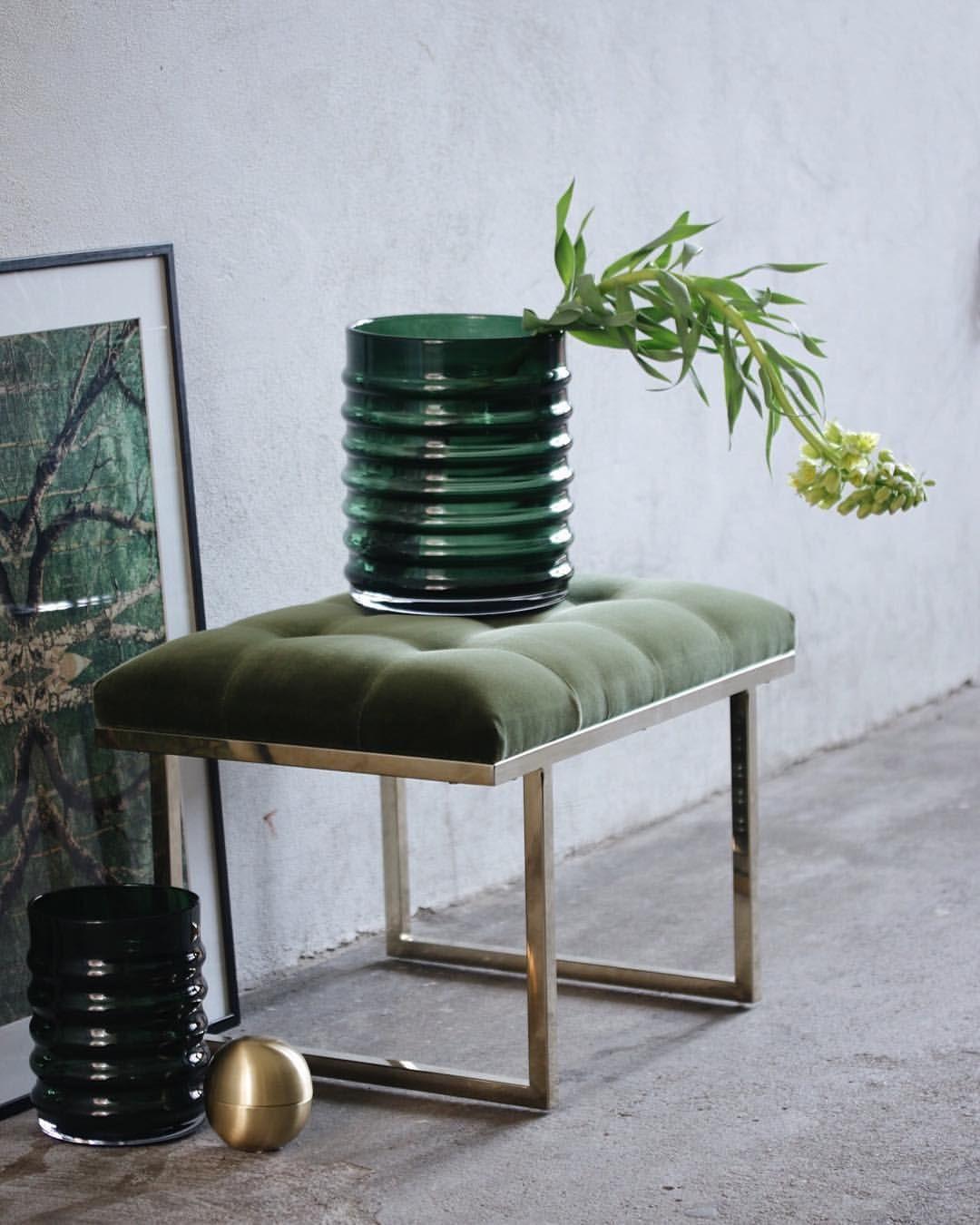 "– Eske Interiør # Design (@eskeinterior) på Instagram: ""•P U F F  F I O N A• Nok en herlighet fra @ruth_and_joanna Her vist i Amazon Green med messing…"""