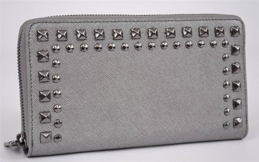 a3731f2aabd8 NEW DKNY Donna Karan Studded Gunmetal Grey Saffiano Leather Zip Clutch  Wallet #DKNY #Clutch