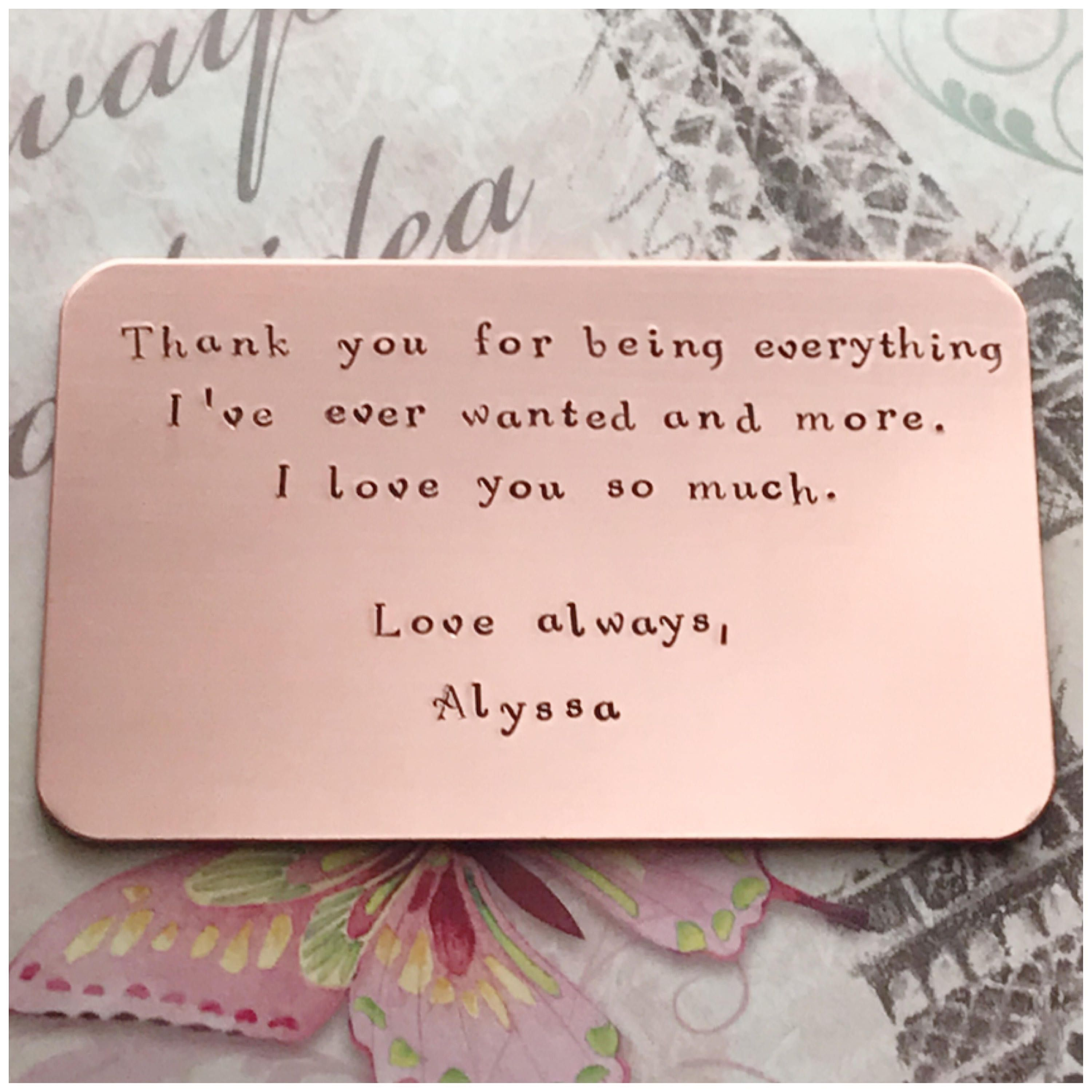 Copper wallet card personalized metal card handmade